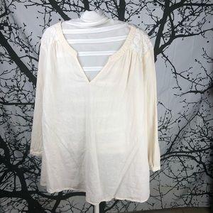 Merona Linen 3/4 Sleeve Blouse